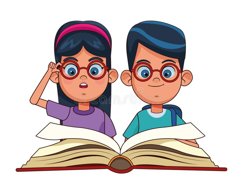 Young kids reading a books vector illustration