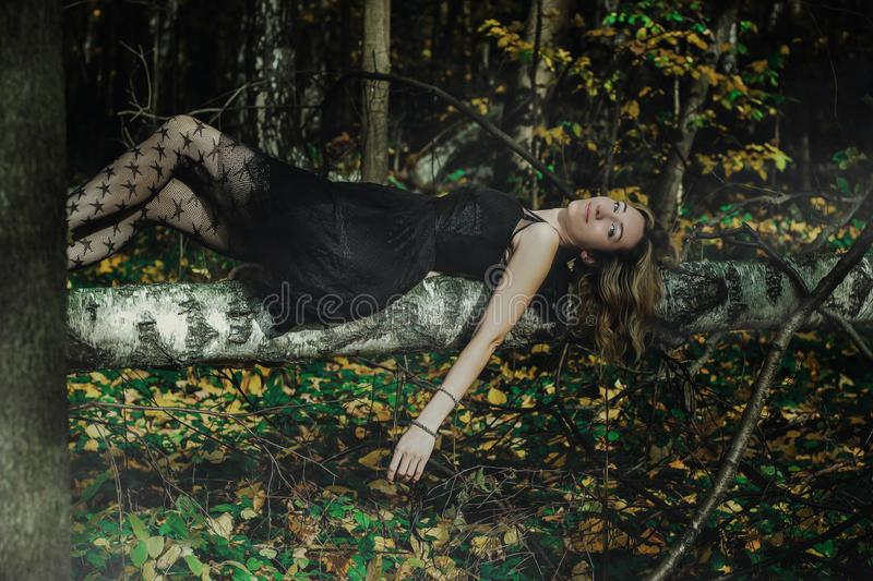 A young kind witch in a black dress with a black mask in a mystical forest in various poses. Art processing.  stock image