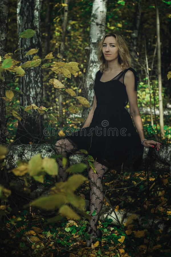 A young kind witch in a black dress with a black mask in a mystical forest in various poses. Art processing.  royalty free stock photos