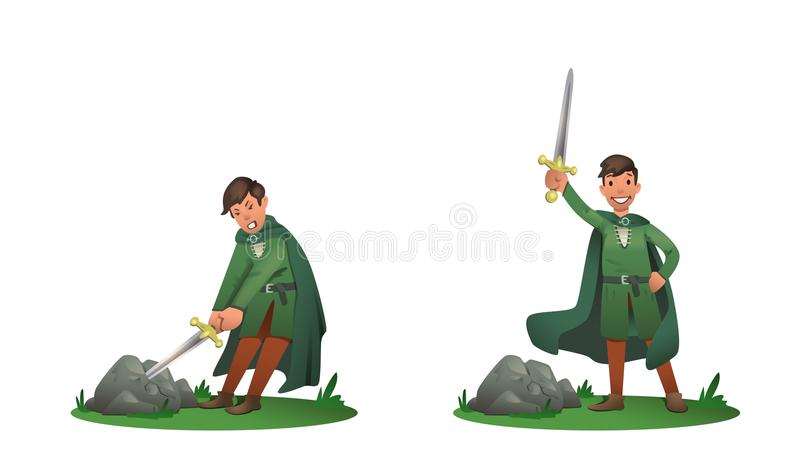Young King Arthur withdrawing Excalibur of the stone and holding it above the head. Set of two postures, cartoon stock illustration