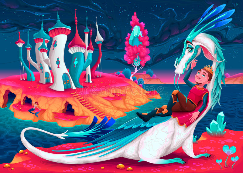 Young king with his dragon in a fantasy world royalty free illustration