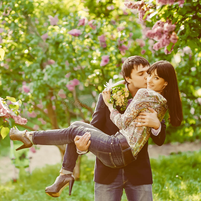 Young kissing happy couple in love royalty free stock photo
