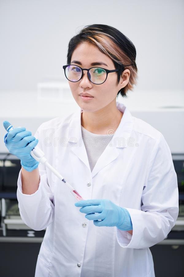 Young lab technician preparing sample for research royalty free stock photos