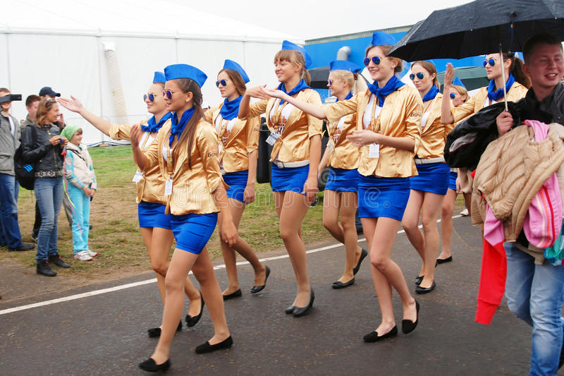 Young ladies march at MAKS-2013 stock image