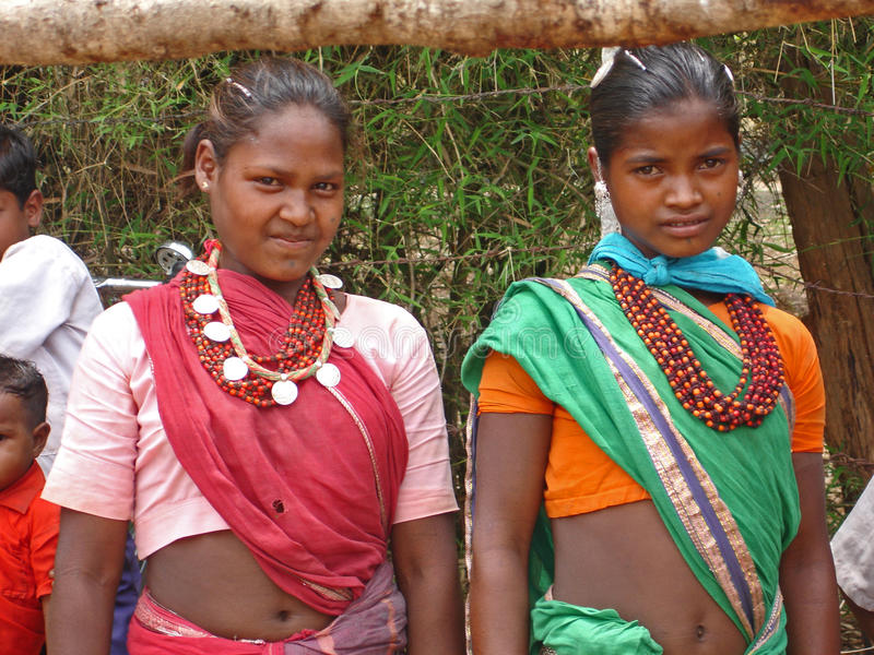 Young ladies in rural India. Young ladies in their finery in a market in rural central India royalty free stock photos