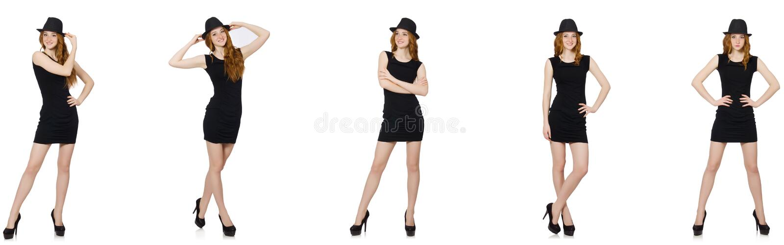 The young lady in black dress with black hat royalty free stock images