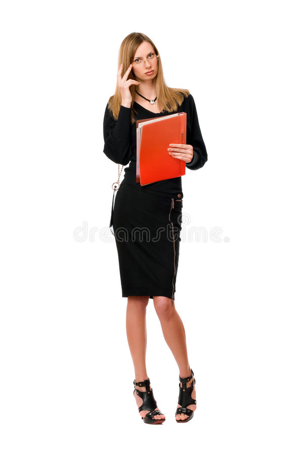 Young lady with the folder royalty free stock photography