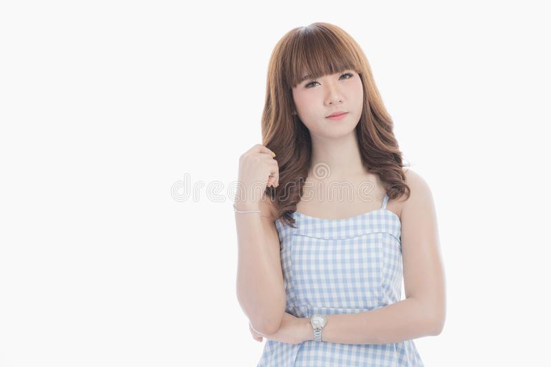 Young lady in blue dress. stock photography
