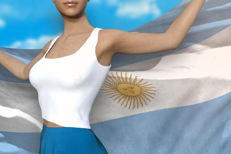 Pretty girl in bright skirt holds Argentina flag in hands behind her back on the cloudy sky background - flag concept 3d. Young lady in bright skirt is holding stock illustration