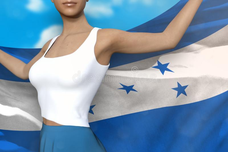 Pretty lady in bright skirt holds Honduras flag in hands behind her back on the cloudy sky background - flag concept 3d. Young lady in bright skirt is holding royalty free illustration