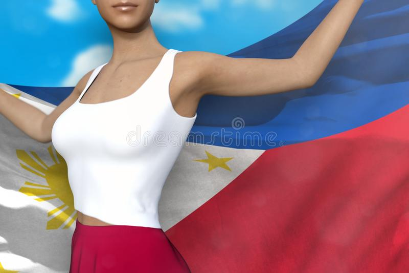 Beautiful lady in bright skirt holds Philippines flag in hands behind her back on the cloudy sky background - flag concept 3d. Young lady in bright skirt is vector illustration