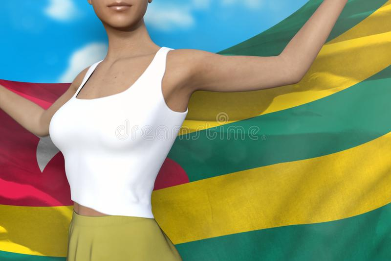 Sexy girl in bright skirt holds Togo flag in hands behind her back on the cloudy sky background - flag concept 3d illustration. Young lady in bright skirt is royalty free illustration