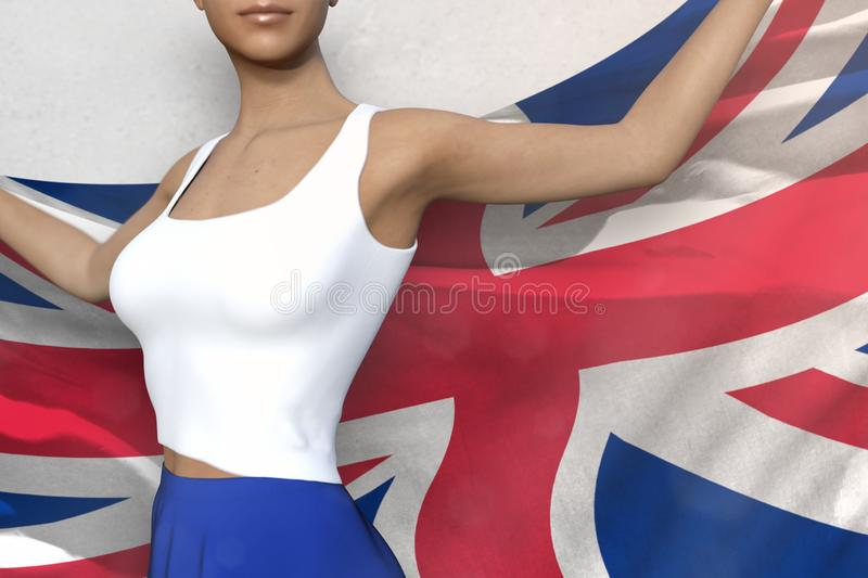Young lady in bright skirt holds United Kingdom UK flag in hands behind her back on the white background - flag concept 3d. Young woman in bright skirt is vector illustration