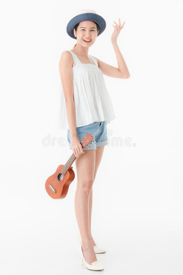 Young lady in casual summer outfits royalty free stock photography
