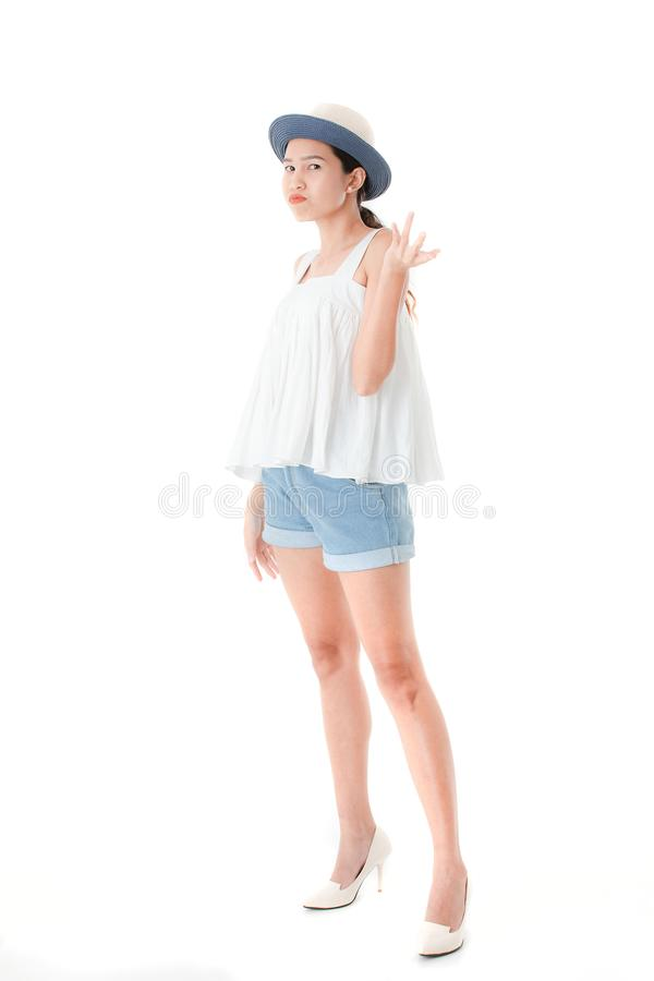 Young lady in casual summer outfits royalty free stock images