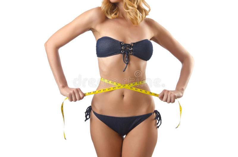 Young Lady With Centimetr - Weight Loss Concept Stock Photography