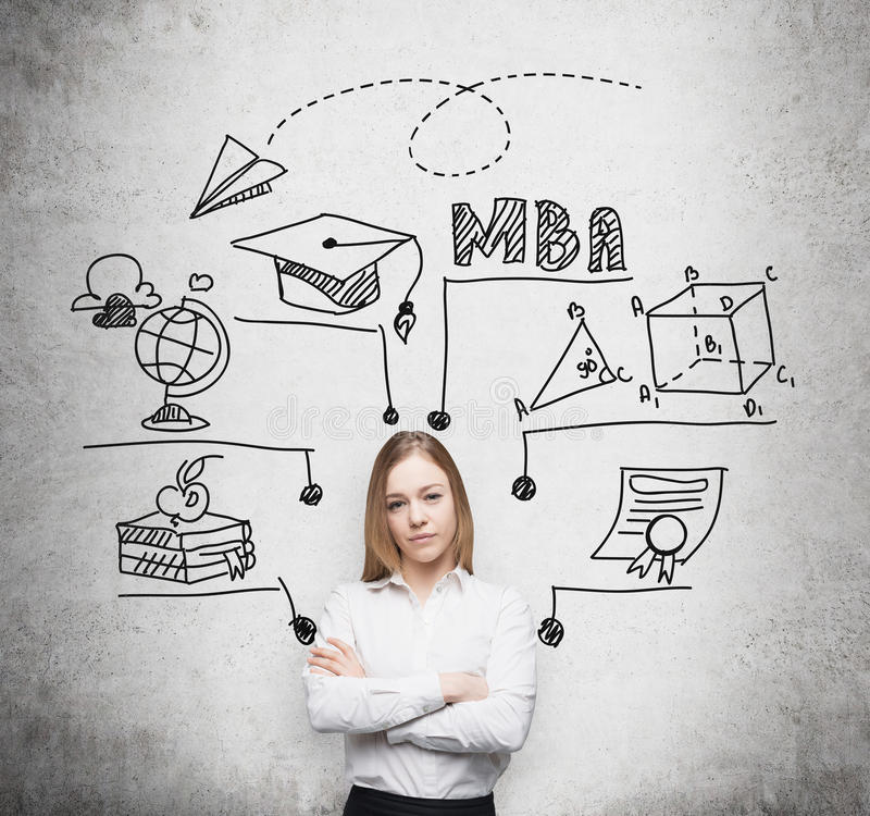 Young lady with crossed hands is going to get the master's degree in business administration. A concept of the MBA degre stock photography