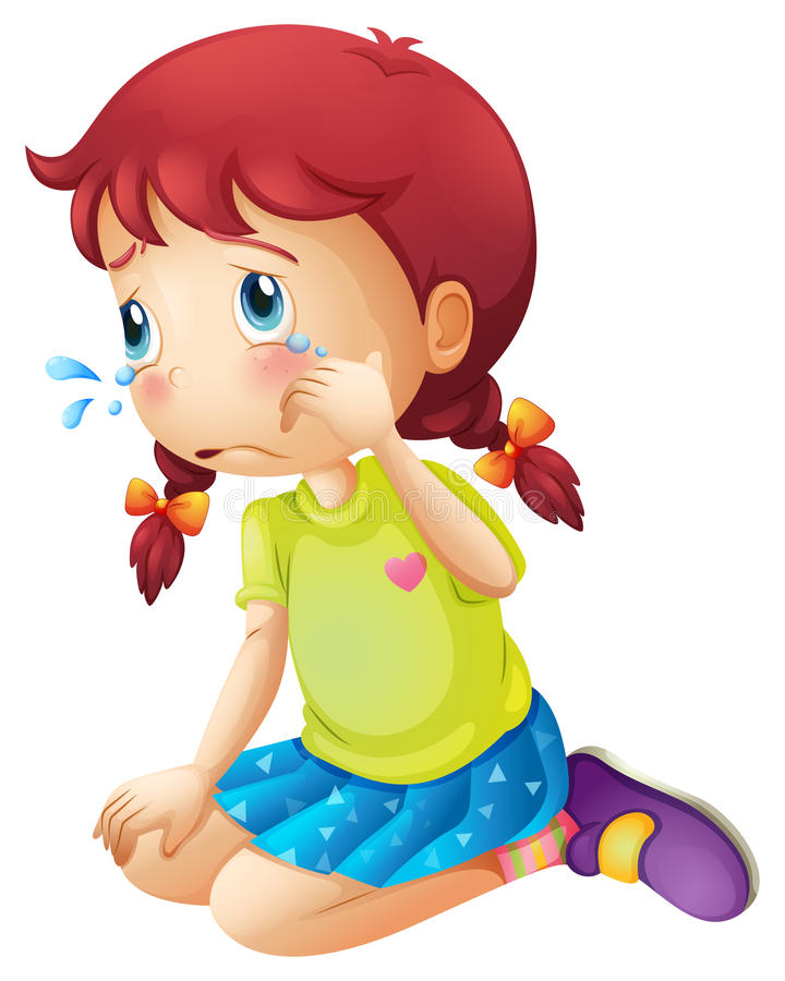 A young lady crying vector illustration