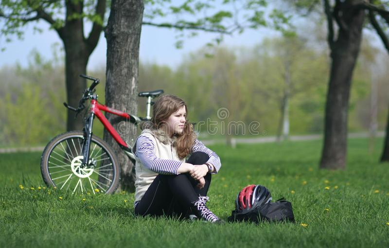 Download Young Lady Cycling In The Park Stock Photo - Image: 8056408