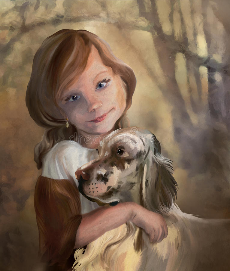 Young lady with dog. Outdoor portrait of Young girl with English Setter. Digital hand drawing painting in old classical style