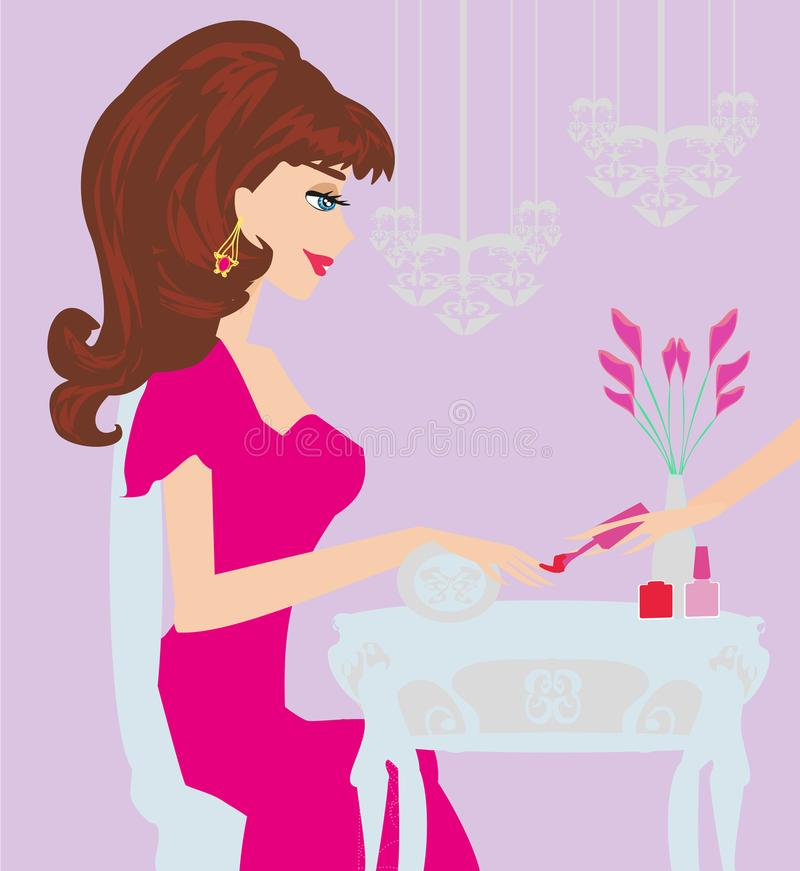 Young Lady Doing Manicure In Beauty Salon Stock Vector ...