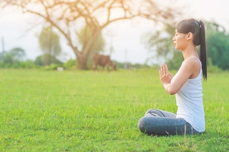 Young lady doing yoga exercise in green field outdoor area showing calm peaceful in meditation mind. People practise yoga for meditation and exercise concept royalty free stock images