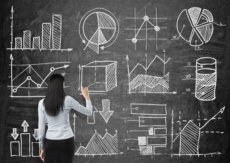 Young lady is drawing some charts and graphs on the black chalkboard. Rear view of the model. stock image