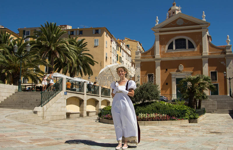 The young lady dressed as Napoleon's time, Ajaccio city. royalty free stock image