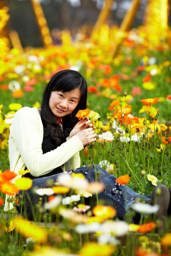 Download Young Lady In  Flower Fields Stock Photo - Image of happy, enjoy: 33621256