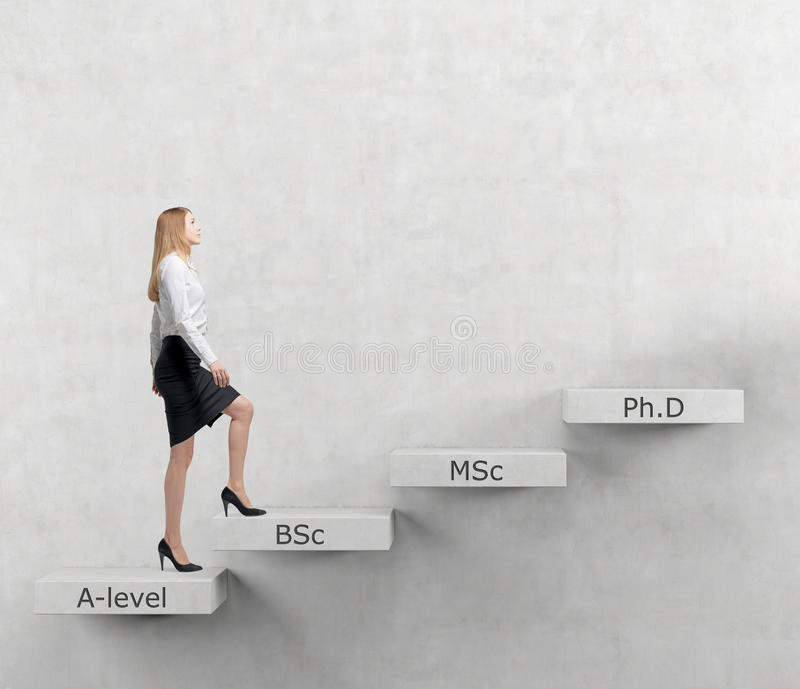 Young lady is going up to the stairs. Steps symbolise level of education. A-levle, Bachelor, Masters and Doctor of Philosophy. Con. Young lady woman is going up royalty free stock photos