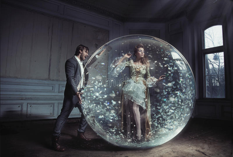 A young lady got stuck. In crystal ball