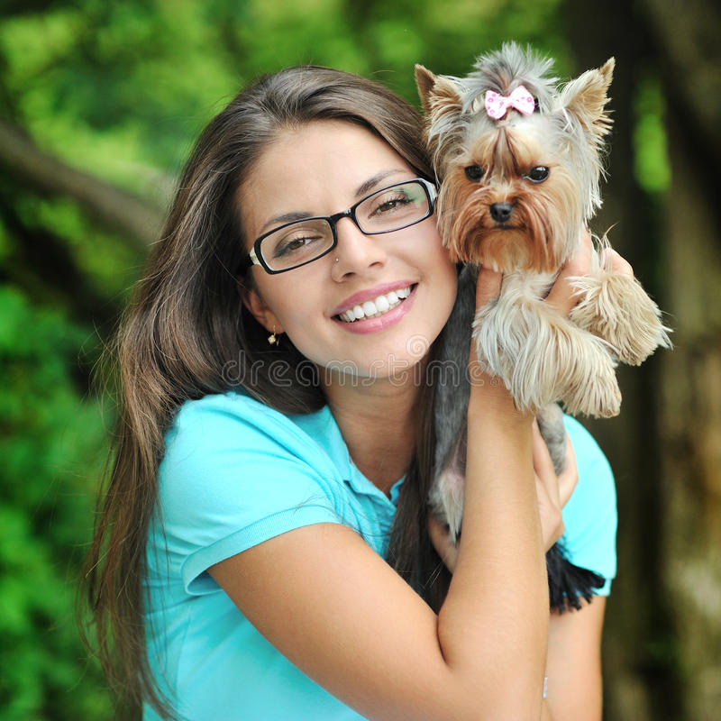 Download Young Lady With Her Puppy In A Park Stock Image - Image: 31993753