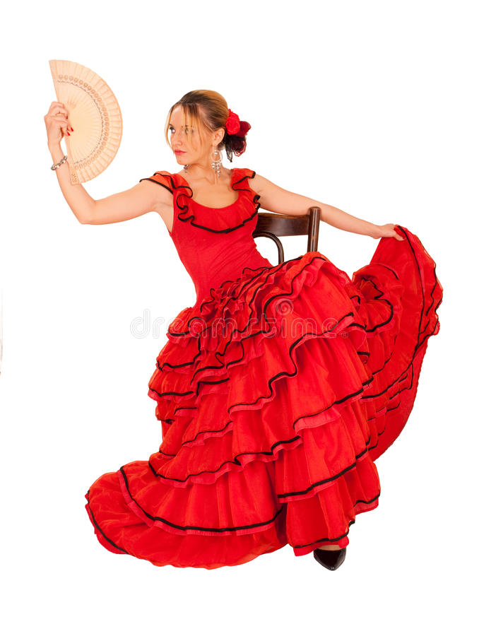 Download Young Lady In Hispanic Red Dress Stock Photo - Image of young, chair: 13527408