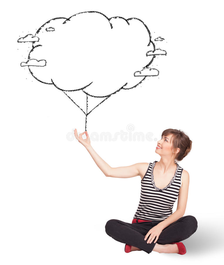 Download Young Lady Holding Cloud Balloon Drawing Stock Image - Image: 35194095