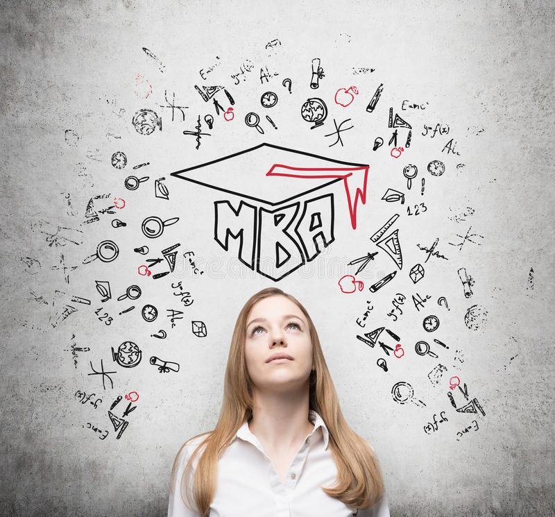 Free Young Lady Is Thinking About MBA Degree. Royalty Free Stock Photography - 57696977