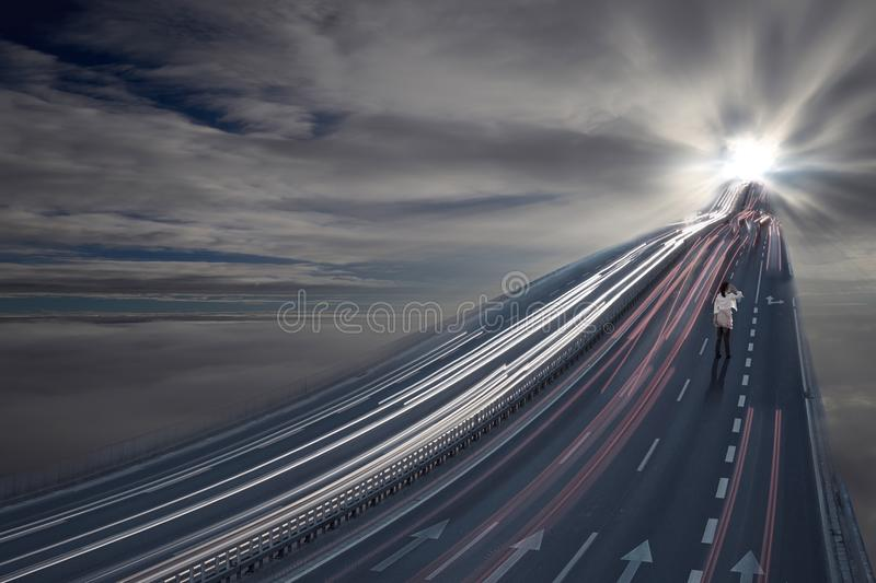 Road to a different world stock photography
