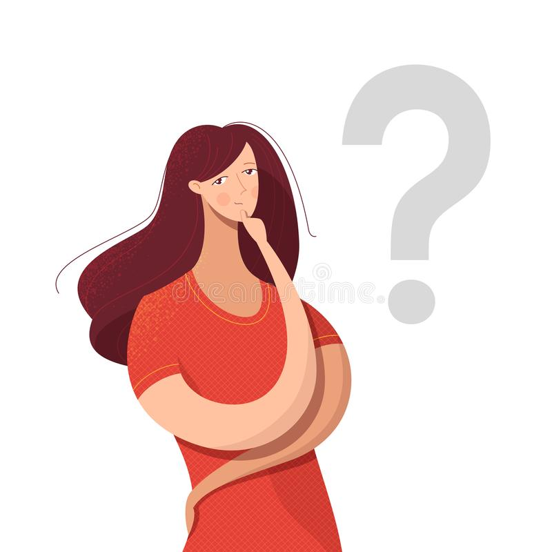 Young lady making decision vector illustration. Cartoon woman looking for answer, solution to problem isolated character. Confused girl thinking with hand on stock illustration