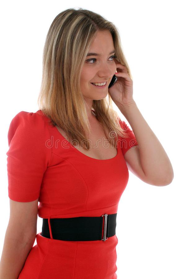 Young lady on the phone royalty free stock photography