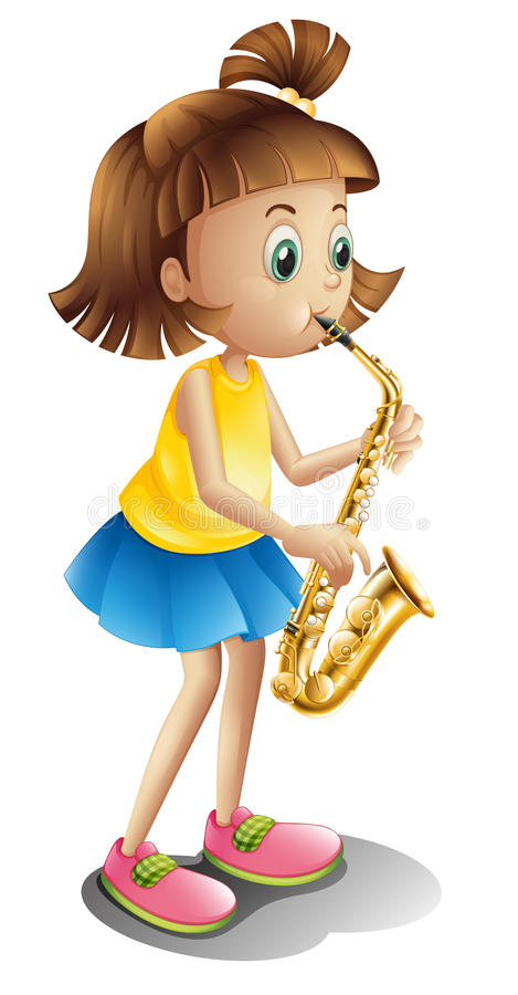 A young lady playing with the saxophone royalty free illustration