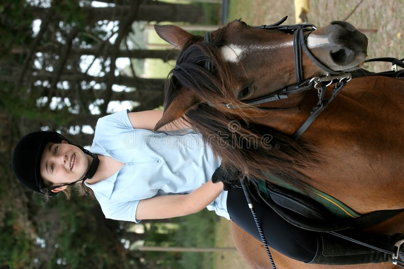 Download Young Lady on Pony stock image. Image of reins, pony, lady - 4120287