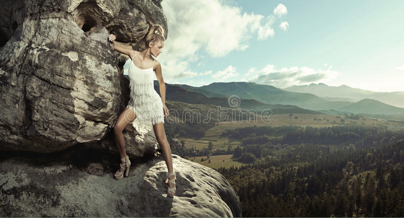 Download Young Lady Posing In Mountain Royalty Free Stock Photos - Image: 26826358