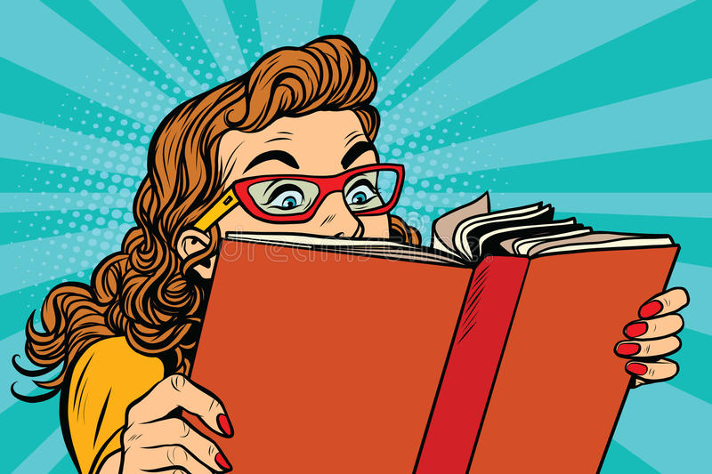 Young lady reading a book stock illustration