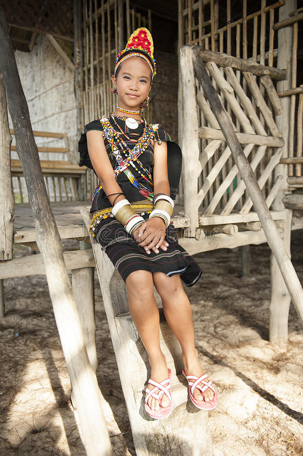 A young lady from Rungus ethnic. royalty free stock image