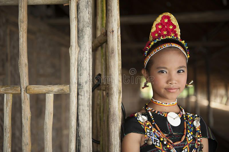 A young lady from Rungus ethnic. royalty free stock images