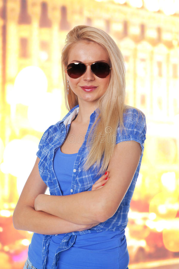 Download Young Lady Standing With Folded Hand Stock Photo - Image of look, beautiful: 24241410