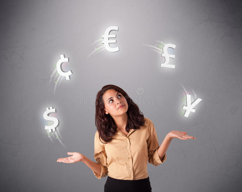 Download Young Lady Standing And Juggling With Currency Icons Stock Image - Image: 28063235