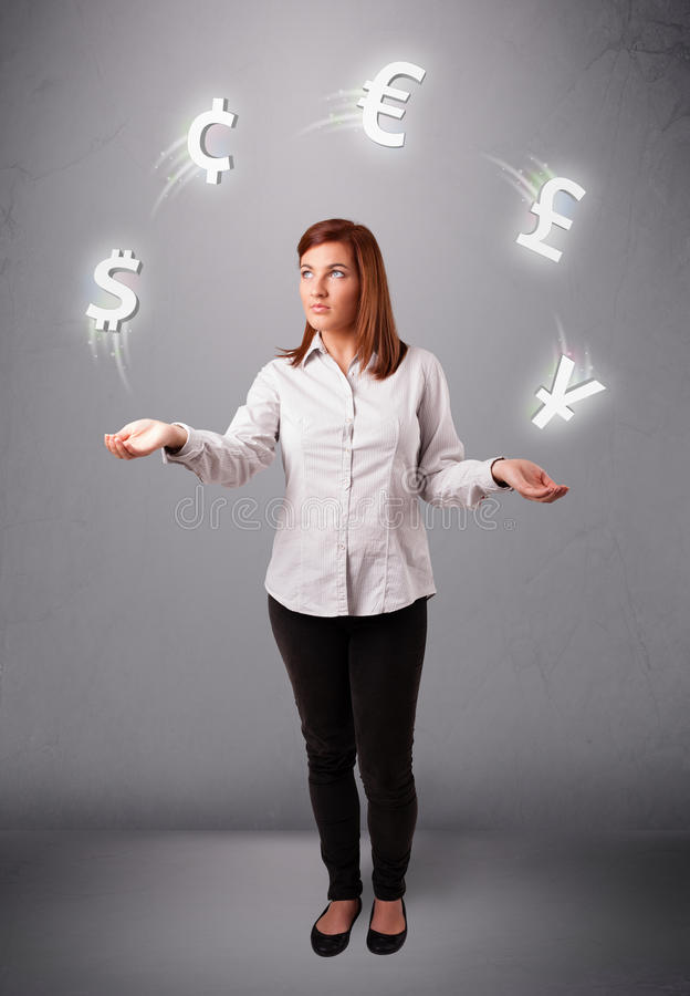 Download Young Lady Standing And Juggling With Currency Icons Stock Photo - Image: 28805176