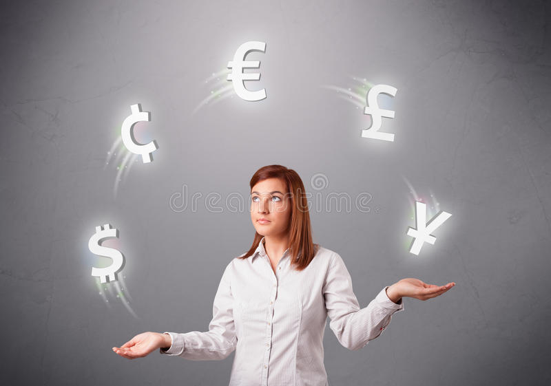 Download Young Lady Standing And Juggling With Currency Icons Stock Image - Image of finance, excitement: 30452343