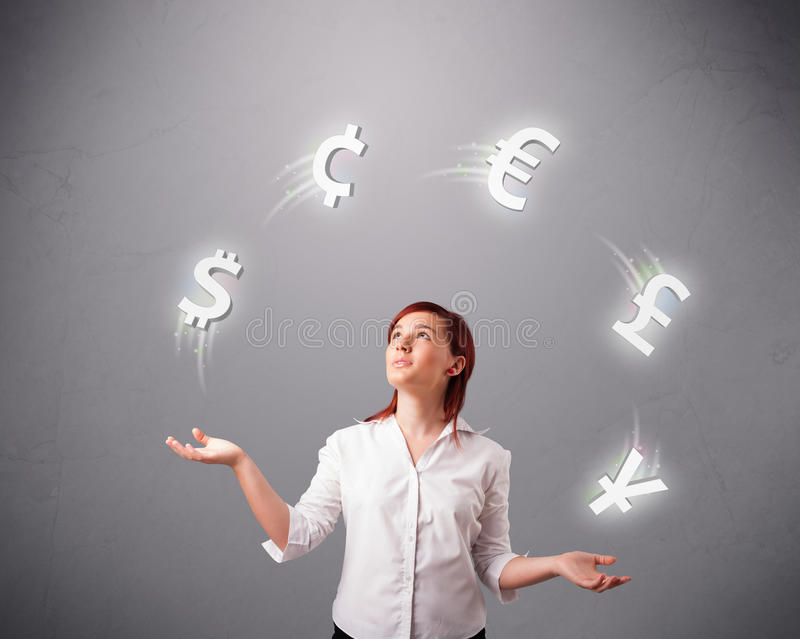 Young lady standing and juggling with currency icons stock illustration