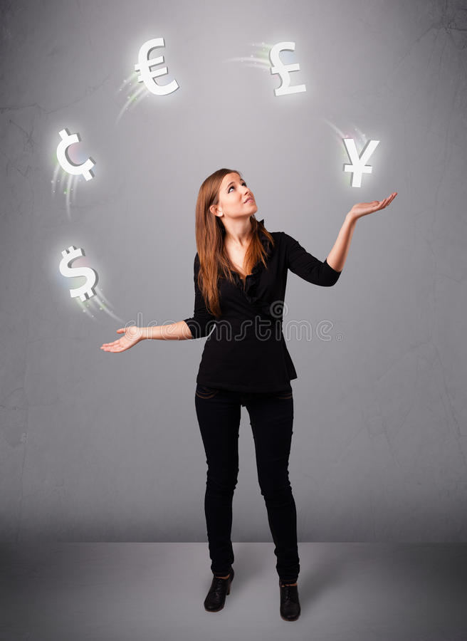 Young lady standing and juggling with currency icons royalty free illustration